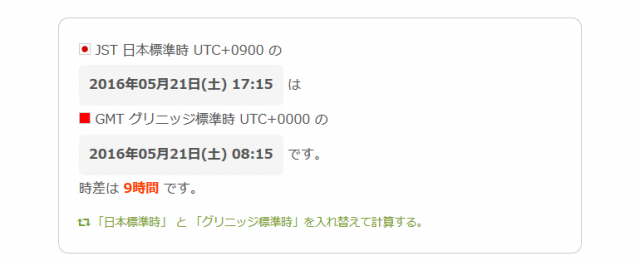 GMT日本時間との時間差